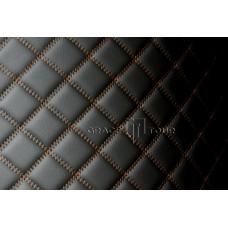 Багажник 2D Люкс черный с коричневой строчкой
