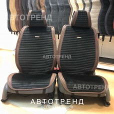 Накидки на сиденье Премиум АВТОТРЕНД черный/коричневый