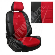 Чехлы на сиденья из матовой экокожи/алькантары АВТОПИЛОТ (Чёрный + Красный)