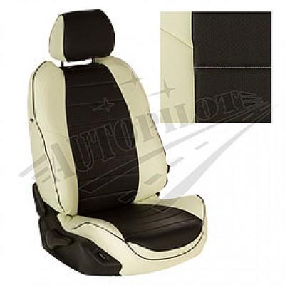 Чехлы на сиденья из матовой экокожи АВТОПИЛОТ (Белый + Чёрный)