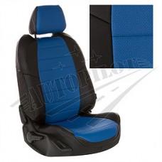 Чехлы на сиденья из матовой экокожи АВТОПИЛОТ (Чёрный + Синий)