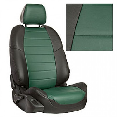 Чехлы на сиденья из матовой экокожи АВТОПИЛОТ (Черный + Зеленый)