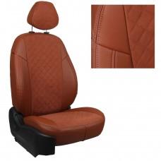 Чехлы на сиденья из матовой экокожи/алькантары РОМБ АВТОПИЛОТ (Коричневый+Коричневый)