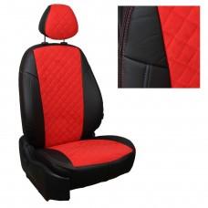Чехлы на сиденья из матовой экокожи/алькантары РОМБ АВТОПИЛОТ (Черный+Красный)