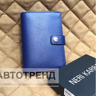 Обложка для автодокументов с кнопкой NERI KARRA синий